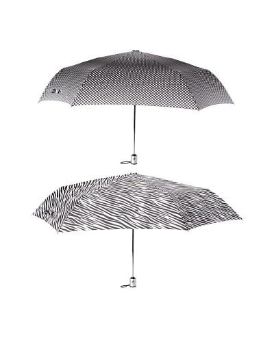 London Fog Women's 2-Pack Tiny Mini Auto Open/Close Umbrella Zebra/Mori