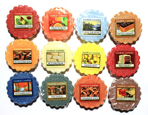Yankee Candle 12 Assorted Wax Potpourri Tarts: Patchouli, Over The River, Hot Buttered Rum, November Rain, Cinnamon Stick, Fruit Fusion, Buttercream, Salted Caramel, Hazelnut Coffee, Cranberry Pear, Lemon Zest, Red Velvet