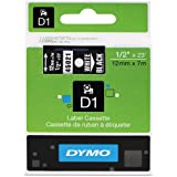 DYMO High-Performance Permanent Self-Adhesive D1 Polyester Tape for Label Makers, 1/2-inch, White Print on Black, 23-foot Cartridge, Sold As 5/Pack (45021)
