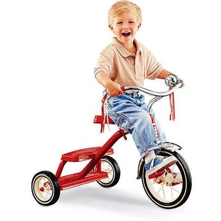 Radio Flyer Classic Red Dual-Deck Tricycle, Real Rubber Tires and Durable Steel-Spoked Wheels (Radio Flyer Classic Car compare prices)