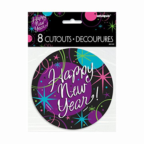 "5"" Paper Cut Out Stellar New Years Decorations, 8ct"