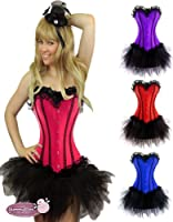 Womens Sexy Burlesque Corset & Tutu Fancy Dress Costume Size 6-24 Moulin Rouge Halloween Outfit by Yummy Bee