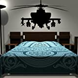 Army Helicopter Sticker - Bedroom Art / Boys Wall Transfers / Large Vinyl RA148