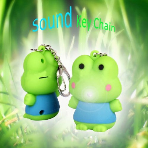 BYSUN Sound Cartoon Frog LED Keychain Light Green.