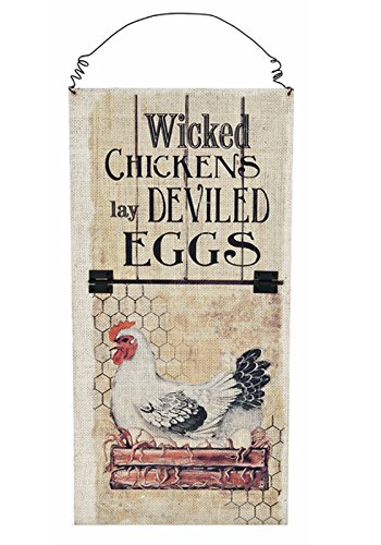 Wicked Chickens Lay Deviled Eggs Wall Sign - By Ganz (Decorative Chicken Eggs compare prices)