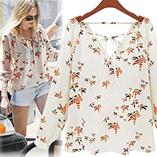 Hemd, Oyedens Frauen Und Weise BeiläUfige Lange HüLse Haltegurt Bluse Chiffon- Blumen T-Shirt (L)