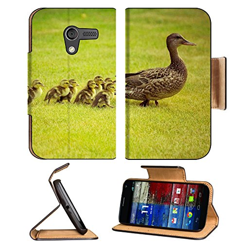 Animal Wildlife Duck Baby Cute Quack Mother Bird Motorola Moto X Flip Case Stand Magnetic Cover Open Ports Customized Made To Order Support Ready Premium Deluxe Pu Leather 5 7/16 Inch (138Mm) X 3 1/16 Inch (78Mm) X 9/16 Inch (14Mm) Luxlady Mobility Cover front-62468