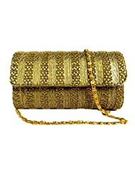 SHINY GOLDEN METAL CLUTCHES EVENING BAG WITH LINKED CHAIN DESIGN PARTY BAG HARD CASE SHOULDER CHAIN
