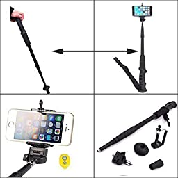 Newomark® Dual Use Extendable Aluminum Hiking Trekking Pole Stick Selfie Monopod With 1/4\'\' Monopod Head for Phone Holder for iPhone 6 iPhone 6 Plus iPhone 5 5s 5c iPhone 4 4s Samsung Galaxy s2 s3 Note 2 Note 3 With Bluetooth Remote Shutter (Black)