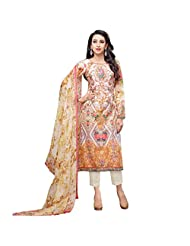 Orange And Beige Cotton Satin Party Wear Pakistani Salwar Suit Semi Stitched Dress Material