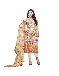 Orange And Beige Cotton Satin Party Wear Pakistani Salwar Suit Semi Stitched Dress Material