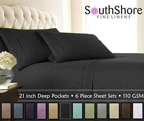 Southshore Fine Linens® 4-piece 21 Inch Extra Deep Pocket Sheet Set with Beautiful Lace (Queen, Black) (Extra Deep Sheets compare prices)