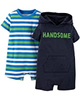 Carter's Baby Boys 2-pk. Striped & Hooded Romper Set