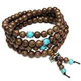 Top Plaza 8mm Tibetan Buddhist Bead Prayer Buddha Mala Beads Natural Wenge Wood Beads Bracelet Necklace