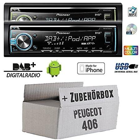 Peugeot 406 - Pioneer DEH-X6800DAB - DAB CD/MP3/USB Autoradio - inkl. DAB Antenne - Einbauset