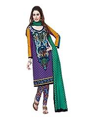Sonal Trendz Women's Cotton Purple Printed Dress Material