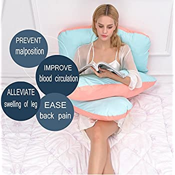 Queen Rose U Shaped Pregnancy Body Pillow with Zipper Removable Cover (Pink and Blue)