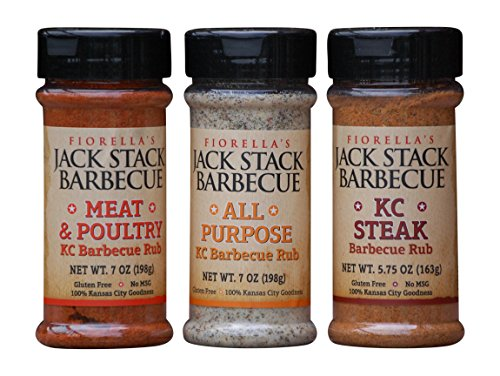 Fiorellas Jack Stack Barbecur Rub Bundle: 1 Jack Stack Meat & Poultry Barbecue Rub 7 Oz, 1 Jack Stack All Purpose Barbecue Rub 7 Oz, 1 Jack Stack Kc Steak Barbecue Rub 5.75 Oz