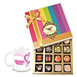 Chocholik Luxury Chocolates - Simple Elegance Of Dark And White Truffles And Chocolates With Love Mug