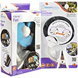 Maven Gifts: Dreambaby Clip On Sun Shade With UV Indicator With Stroller Fan, White/Blue