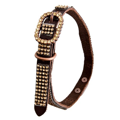 Brown Leather Dog Collar With 4 Rows Of High Quality Yellow Rhinestones And Rinestone Buckle, Size S