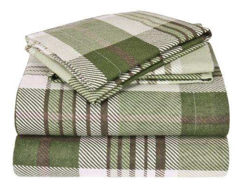 Elite Home Winter Nights Flannel 100-Percent Cotton 4-Piece Sheet Set, Full, Green Plaid front-360677