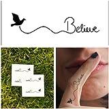 Temporary Tattoo Bird Believe Quote (Set of 3)
