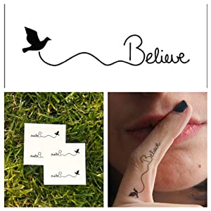 Temporary Tattoo Bird Believe Quote (Set of 6)