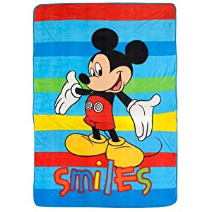 Disney Mickey Mouse Blanket Twin / Full Micro Raschel Throw 62