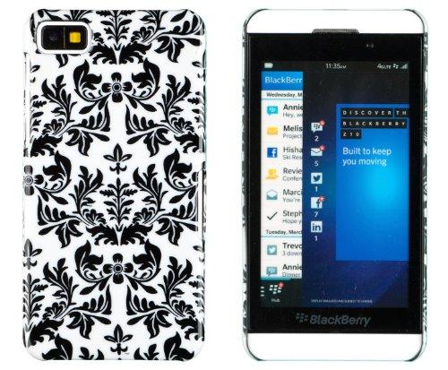 Black Floral Print Hard Case For Blackberry Z10 + Dandycase Keychain Screen Cleaner [Retail Packaging By Dandycase]