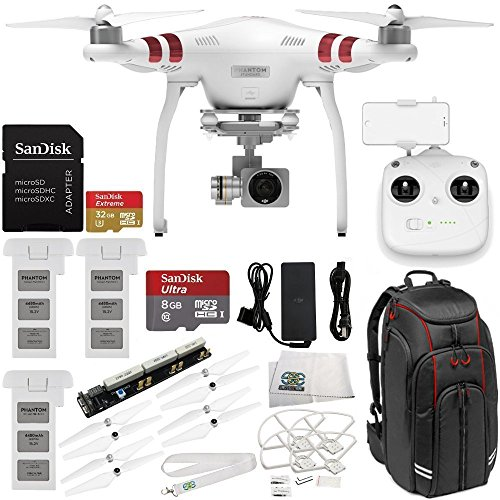 DJI Phantom 3 Standard with 2.7K Camera and 3-Axis Gimbal & Manufacturer Accessories + 2 Extra DJI Flight Batteries + Professional Video Equipment Backpack for DJI + MORE