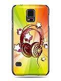 "GRÜV Premium Case - ""Colorful Music DJ Headphones & Stars"" Design - Best Quality Designer Print on Black Hard Cover - for Galaxy S5 i9600 G900 G900A G900T G900M G900F"