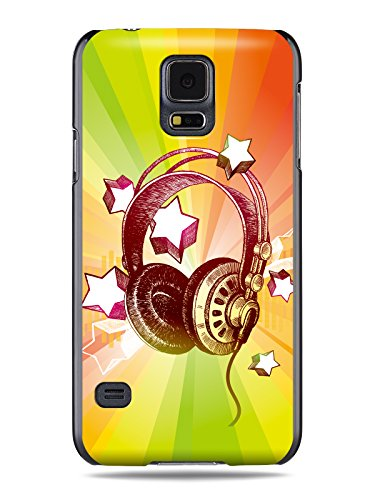 "Grüv Premium Case - ""Colorful Music Dj Headphones & Stars"" Design - Best Quality Designer Print On Black Hard Cover - For Galaxy S5 I9600 G900 G900A G900T G900M, G900F"