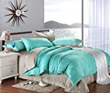 New arrival Turquoise Grey Solid Color Duvet Cover Bedding Queen King Bedding Set Smooth Fashion Tencel Twill Bed in A Bag (Queen Size)