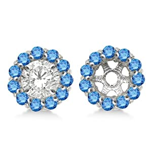 Round Fancy Blue Diamond Earring Jackets for 7mm Diamond Studs 14K White Gold 0.90cw