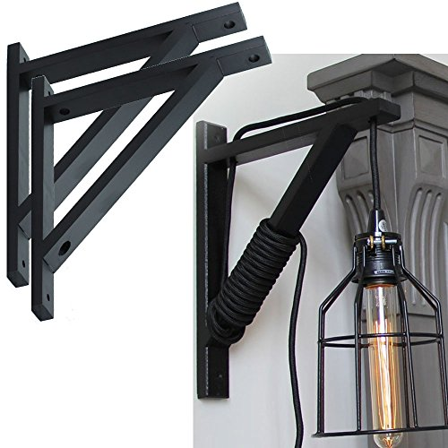 Set of 2 Wall Mount Wood Bracket Scone Pendant Lamp Kit for DYI Project , Black