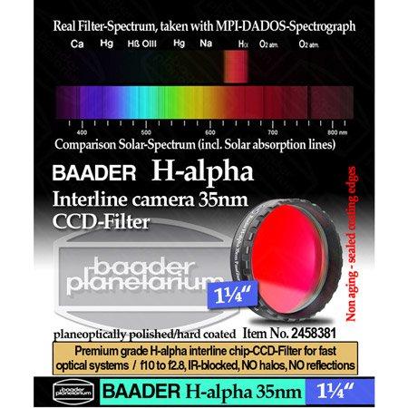 "Baader Planetarium H-Alpha 35Nm Ccd Filter, 1.25"" Eyepiece"
