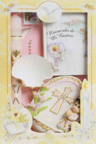 Baptism Gift Sets - Rosary - Sculptured Candle - Missal - Hanky - Shell - Keepsake - Gift Box 11.5in.x7.5in. - SPANISH, Girl