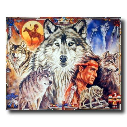 Native American Indian Brave With Wolf Animal Picture Art Print