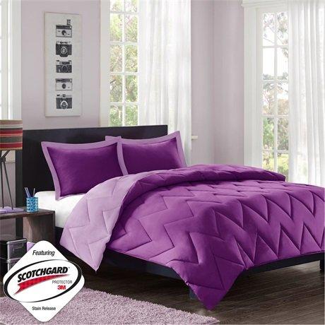 Mizone Reversible Microfiber Down Alt Comforter Mini Set - Purple - Twin/Twin Xl front-804574