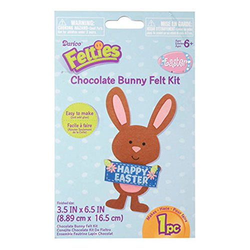 Felties Chocolate Brown Bunny Felt Kit - Craft Kits for Children (Pack of 3)