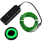 Onite® 16.4ft Green Neon Light El Wire Kit with Battery Pack Controller for Parties, Halloween, Automotive, Advertisement Decoration