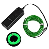 Onite 16.4ft Green Neon Light El Wire Kit with Battery Pack Controller for Parties, Halloween, Automotive, Advertisement Decoration