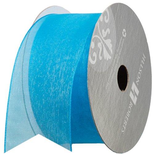 Jillson Roberts 1-1/2 Inch Sheer Ribbon, Turquoise, 6-Count (FR3239)
