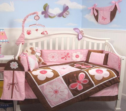 SoHo Pink and Brown Floral Garden Baby Crib Nursery Bedding Set 13 pcs included Diaper Bag with Changing Pad & Bottle Case