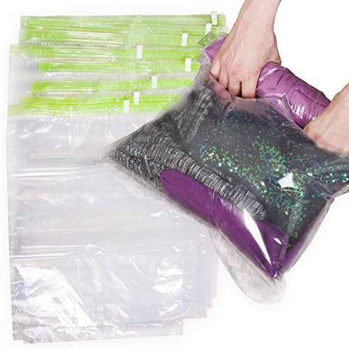 8 Travel Storage Bags for Clothes - No Vacuum or Pump Needed -Reusable Space Saver Packing Sacks (4 items - 28x20