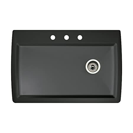 Blanco 440194-3 Diamond 3-Hole Single-Basin Drop-In or Undermount Granite Kitchen Sink, Anthracite