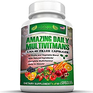Daily Multivitamin Liquid Filled Capsules For Men Women Over 40 50 60 And Seniors. Easy To Absorb Best Food Based Natural Multivitamins Supplement With A Blend of 42 Fruit Vegetable Super Foods