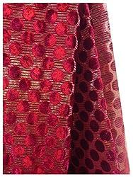 half mtr maroon velvat fabric, polka dots pattern, golden lines