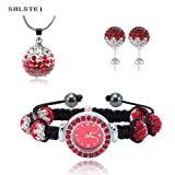 Shamballa Bracelet Watches Swarovski Watch Crystal Beads 10mm (RED) with Gift Bag